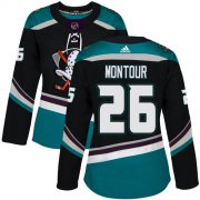 Wholesale Cheap Adidas Ducks #26 Brandon Montour Black/Teal Alternate Authentic Women's Stitched NHL Jersey