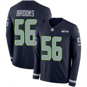 Wholesale Cheap Nike Seahawks #56 Jordyn Brooks Steel Blue Team Color Men's Stitched NFL Limited Therma Long Sleeve Jersey