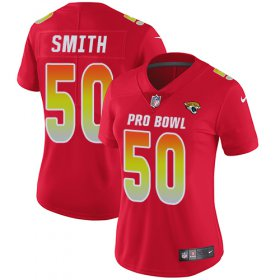Wholesale Cheap Nike Jaguars #50 Telvin Smith Red Women\'s Stitched NFL Limited AFC 2018 Pro Bowl Jersey