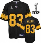 Wholesale Cheap Steelers #83 Heath Miller Black With Yellow Number Super Bowl XLV Stitched NFL Jersey