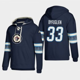 Wholesale Cheap Winnipeg Jets #33 Dustin Byfuglien Blue adidas Lace-Up Pullover Hoodie