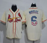 Wholesale Cheap Cardinals #6 Stan Musial Cream USA Flag Fashion Stitched MLB Jersey