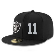 Wholesale Cheap Oakland Raiders #11 Sebastian Janikowski Snapback Cap NFL Player Black with Silver Number Stitched Hat