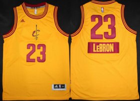 Wholesale Cheap Cleveland Cavaliers #23 LeBron James Revolution 30 Swingman 2014 Christmas Day Yellow Jersey