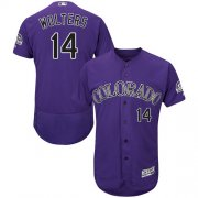 Wholesale Cheap Rockies #14 Tony Wolters Purple Flexbase Authentic Collection Stitched MLB Jersey
