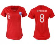 Wholesale Cheap Women's England #8 Henderson Away Soccer Country Jersey