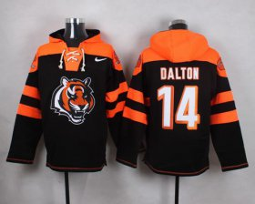 Wholesale Cheap Nike Bengals #14 Andy Dalton Black Player Pullover NFL Hoodie