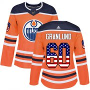 Wholesale Cheap Adidas Oilers #60 Markus Granlund Orange Home Authentic USA Flag Women's Stitched NHL Jersey