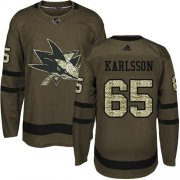Wholesale Cheap Adidas Sharks #65 Erik Karlsson Green Salute to Service Stitched NHL Jersey