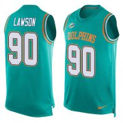 Wholesale Cheap Nike Dolphins #90 Shaq Lawson Aqua Green Team Color Men's Stitched NFL Limited Tank Top Jersey