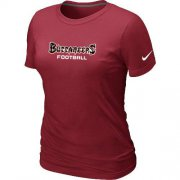 Wholesale Cheap Women's Nike Tampa Bay Buccaneers Sideline Legend Authentic Font T-Shirt Red