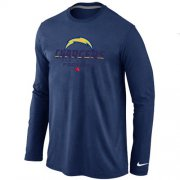 Wholesale Cheap Nike Los Angeles Chargers Critical Victory Long Sleeve T-Shirt Dark Blue