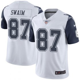 Wholesale Cheap Nike Cowboys #87 Geoff Swaim White Men\'s Stitched NFL Limited Rush Jersey