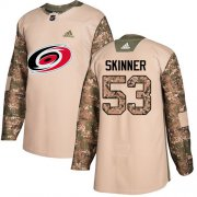 Wholesale Cheap Adidas Hurricanes #53 Jeff Skinner Camo Authentic 2017 Veterans Day Stitched Youth NHL Jersey