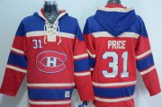 Wholesale Canadiens #31 Carey Price Red Sawyer Hooded Sweatshirt Stitched NHL Jersey