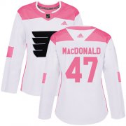 Wholesale Cheap Adidas Flyers #47 Andrew MacDonald White/Pink Authentic Fashion Women's Stitched NHL Jersey