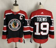 Wholesale Cheap Men's Chicago Blackhawks #19 Jonathan Toews Black With C Patch 2021 Retro Stitched NHL Jersey
