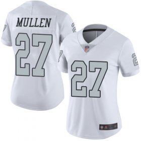 Wholesale Cheap Nike Raiders #27 Trayvon Mullen White Women\'s Stitched NFL Limited Rush Jersey
