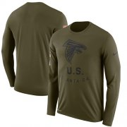 Wholesale Cheap Men's Atlanta Falcons Nike Olive Salute to Service Sideline Legend Performance Long Sleeve T-Shirt