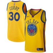 Wholesale Cheap Nike Golden State Warriors #30 Stephen Curry Gold NBA Swingman City Edition Jersey