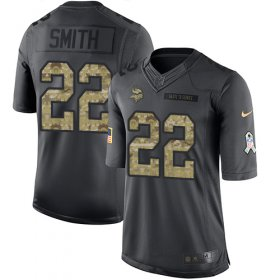 Wholesale Cheap Nike Vikings #22 Harrison Smith Black Youth Stitched NFL Limited 2016 Salute To Service Jersey