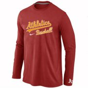 Wholesale Cheap Oakland Athletics Long Sleeve MLB T-Shirt Red