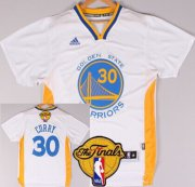 Wholesale Cheap Men's Golden State Warriors #30 Stephen Curry White Short-Sleeved 2016 The NBA Finals Patch Jersey