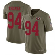 Wholesale Cheap Nike 49ers #94 Solomon Thomas Olive Youth Stitched NFL Limited 2017 Salute to Service Jersey
