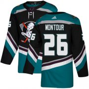 Wholesale Cheap Adidas Ducks #26 Brandon Montour Black/Teal Alternate Authentic Youth Stitched NHL Jersey
