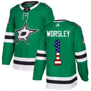 Wholesale Cheap Adidas Stars #1 Gump Worsley Green Home Authentic USA Flag Stitched NHL Jersey