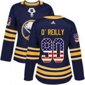 Wholesale Cheap Adidas Sabres #90 Ryan O\'Reilly Navy Blue Home Authentic USA Flag Women\'s Stitched NHL Jersey