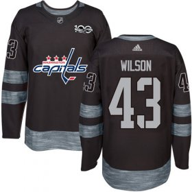 Wholesale Cheap Adidas Capitals #43 Tom Wilson Black 1917-2017 100th Anniversary Stitched NHL Jersey
