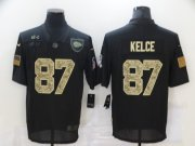 Wholesale Cheap Men's Kansas City Chiefs #87 Travis Kelce Black Camo 2020 Salute To Service Stitched NFL Nike Limited Jersey