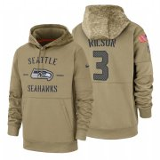 Wholesale Cheap Seattle Seahawks #3 Russell Wilson Nike Tan 2019 Salute To Service Name & Number Sideline Therma Pullover Hoodie