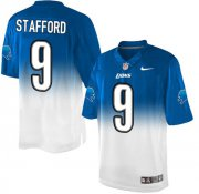 Wholesale Nike Lions #9 Matthew Stafford Blue/White Men's Stitched NFL Elite Fadeaway Fashion Jersey