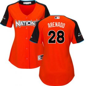 Wholesale Cheap Rockies #28 Nolan Arenado Orange 2017 All-Star National League Women\'s Stitched MLB Jersey