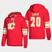 Wholesale Cheap Calgary Flames #20 Curtis Lazar Red adidas Lace-Up Pullover Hoodie