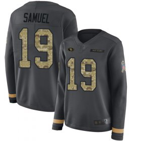 Wholesale Cheap Nike 49ers #19 Deebo Samuel Anthracite Salute to Service Women\'s Stitched NFL Limited Therma Long Sleeve Jersey