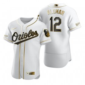 Wholesale Cheap Baltimore Orioles #12 Roberto Alomar White Nike Men\'s Authentic Golden Edition MLB Jersey