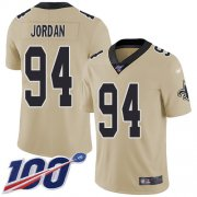 Wholesale Cheap Nike Saints #94 Cameron Jordan Gold Men's Stitched NFL Limited Inverted Legend 100th Season Jersey