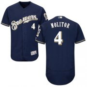 Wholesale Cheap Brewers #4 Paul Molitor Navy Blue Flexbase Authentic Collection Stitched MLB Jersey