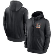 Wholesale Cheap Cincinnati Bengals Nike Sideline Impact Lockup Performance Full-Zip Hoodie Black