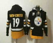 Wholesale Cheap Men's Pittsburgh Steelers #19 JuJu Smith-Schuster NEW Black Pocket Stitched NFL Pullover Hoodie