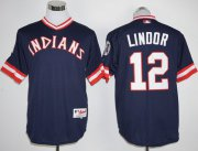 Wholesale Cheap Indians #12 Francisco Lindor Navy Blue 1976 Turn Back The Clock Stitched MLB Jersey
