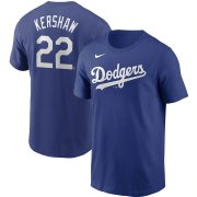 Wholesale Cheap Los Angeles Dodgers #22 Clayton Kershaw Nike Name & Number T-Shirt Royal