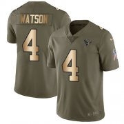 Wholesale Cheap Nike Texans #4 Deshaun Watson Olive/Gold Men's Stitched NFL Limited 2017 Salute To Service Jersey