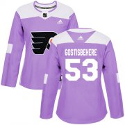 Wholesale Cheap Adidas Flyers #53 Shayne Gostisbehere Purple Authentic Fights Cancer Women's Stitched NHL Jersey