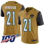 Wholesale Cheap Nike Jaguars #21 C.J. Henderson Gold Men's Stitched NFL Limited Rush 100th Season Jersey