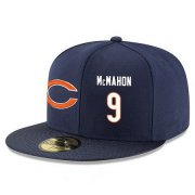 Wholesale Cheap Chicago Bears #9 Jim McMahon Snapback Cap NFL Player Navy Blue with White Number Stitched Hat