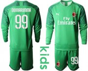Wholesale Cheap AC Milan #99 Donnarumma Green Goalkeeper Long Sleeves Kid Soccer Club Jersey